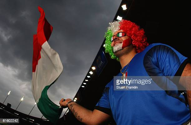 An Italy fan waves a flag prior to the UEFA EURO 2008 Group C match between France and Italy at Letzigrund Stadion on June 17 2008 in Zurich...