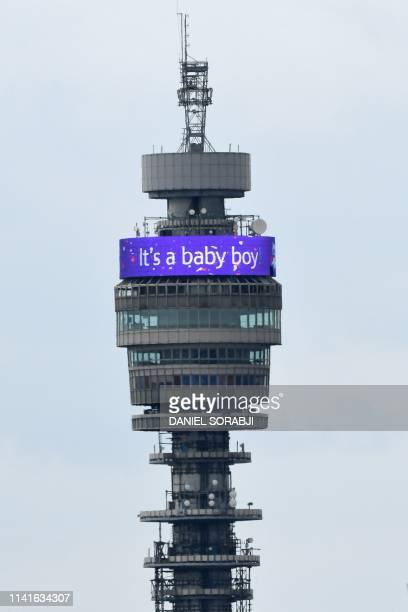 An It's a Baby Boy banner is illuminated on the BT Tower in London on May 6 following the announcement that Britain's Meghan Duchess of Sussex has...