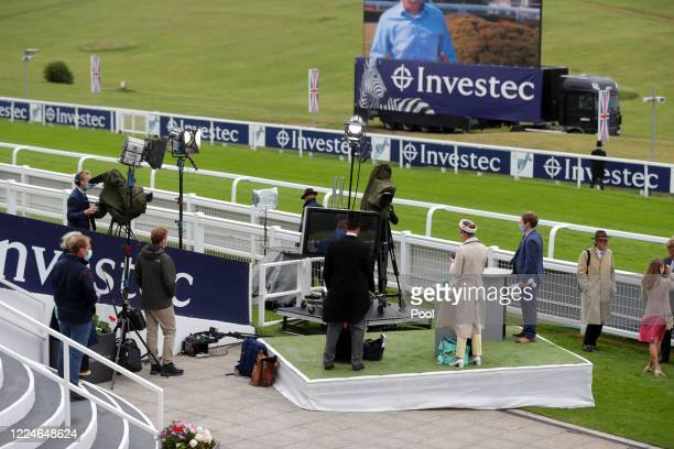 An ITV studio is seen at Epsom Racecourse on July 04, 2020 in Epsom, England. The famous race meeting will be held behind closed doors for the first...