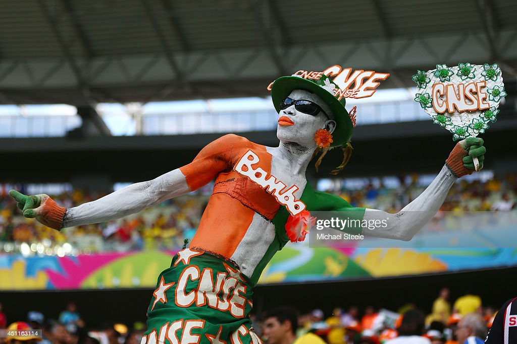 An Ivory Coast fan enjoys the atmosphere prior to kickoff during the 2014 FIFA World Cup Brazil Group C match between Greece and the Ivory Coast at Castelao on June 24, 2014 in Fortaleza, Brazil.