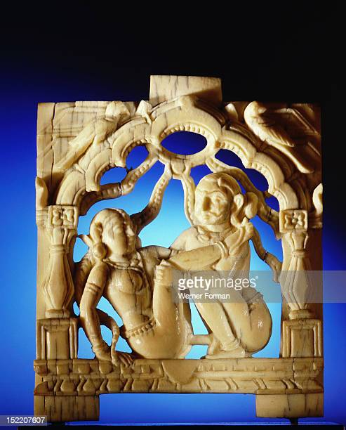 An ivory panel probably from a bed or a swing carved with a tantric scene India Hindu