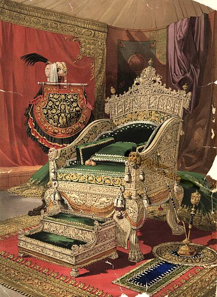 An ivory throne and footstool presented to Queen Victoria...
