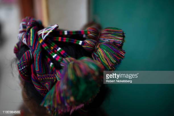 An Ixil Maya woman wears a handwoven hair piece, or cinta, in Nebaj, Guatemala on January 5, 2019. Nebaj is set in the Cuchumatanes mountains and was...