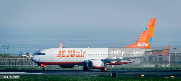 An Jeju Air Boeing 7378FH in runway at Jeju International Airport on 18 April 2018 in Jeju South Korea Korea's budget carriers are now expanding...
