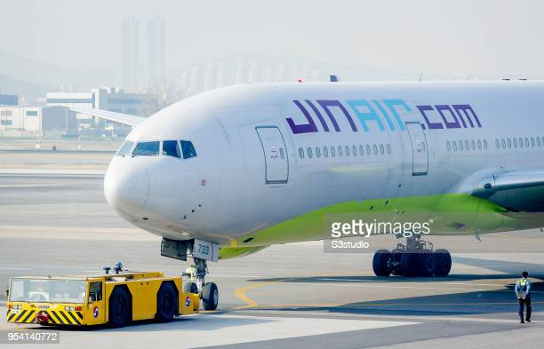 An Jin Air Boeing 733 is pushed back off the gate at Gimpo International Airport on 17 April 2018 in Seoul South Korea Korea's budget carriers are...
