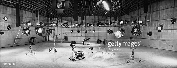 An L and M stage film studio with all its lights fully extended at Pinewood Studios London