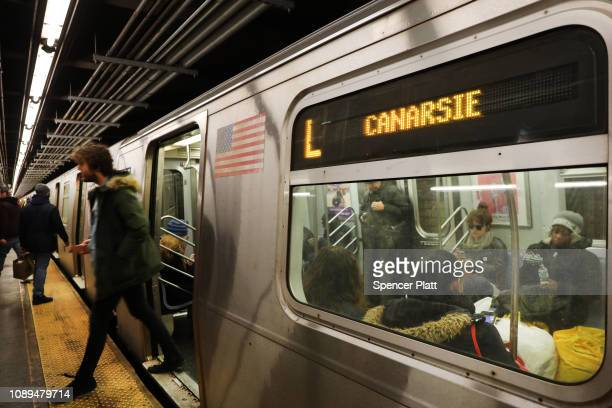 An L train station stands in the popular Brooklyn neighborhood of Williamsburg on January 03 2019 in New York City In a relief to L train customers...