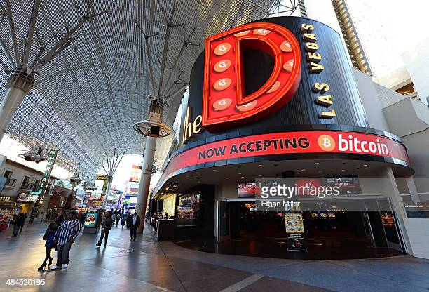 An LED sign outside the D Las Vegas advertises that the property now accepts Bitcoin on January 22 2014 in Las Vegas Nevada The D Las Vegas and the...