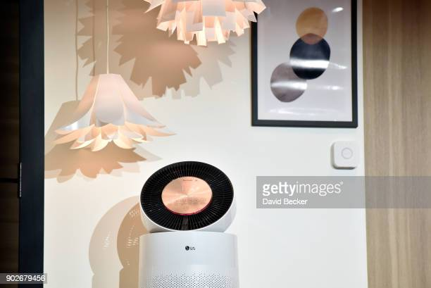 An LG Electronics PuriCare connected air purifier is displayed during a LG press event for CES 2018 at the Mandalay Bay Convention Center on January...
