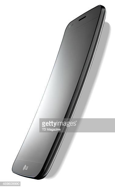 An LG G Flex smartphone photographed on a white background taken on February 6 2014