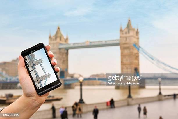 An LG Optimus 3D camera phone shot in front of London Bridge on the River Thames London November 10 2011