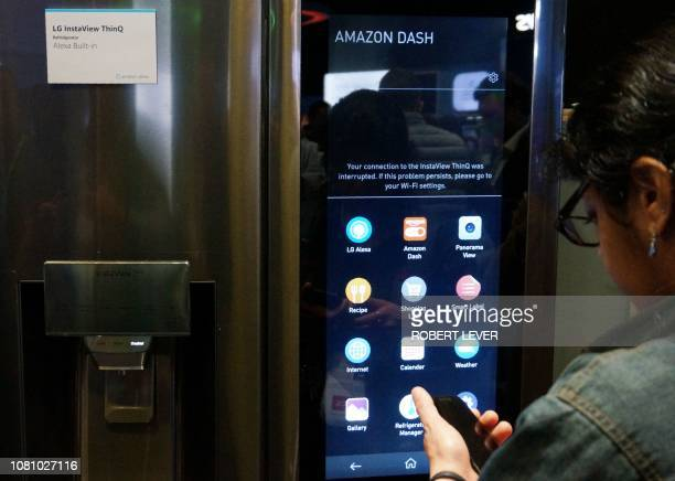 An LG refriigerator that includes Amazon's Alexa digital voice assistant is seen at the Consumer Electronics Show in Las Vegas on January 11 2019