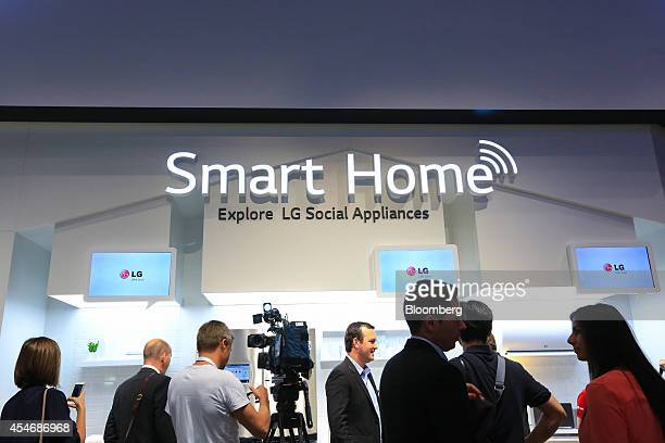 An LG Smart Home logo sits on the wall of the LG Electronics Inc trade stand displaying LG social appliances at the IFA Consumer Electronics Show in...
