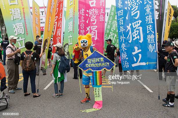 An LGBT activist dressed in an animal costume holds a sign proclaiming democracy at the inauguration of Tsai Ingwen Taiwan's first female president...