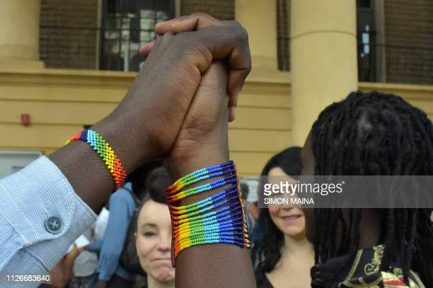 An LGBT activists arrive to attend a court hearing in the Milimani high Court in Niarobi on February 20 2019 Kenya's High Court on February 22...