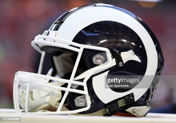 An Los Angeles Rams helmet sits on a box during the NFL football game between the Arizona Cardinals and the Los Angeles Rams on December 23 2018 at...
