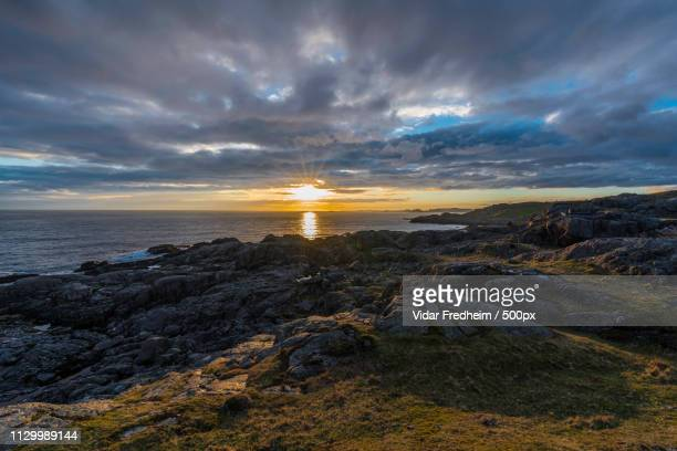 an lovely sunset at stabnes outside egersund - egersund stock photos and pictures