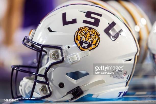 An LSU helmet rests on the sideline during a game between the Northwestern State Demons and the LSU Tigers at Tiger Stadium in Baton Rouge Louisiana...