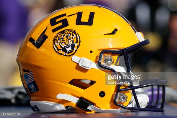 An LSU Tigers helmet during the game between the LSU Tigers and Utah State Aggies at LSU Tiger Stadium on October 5 2019 in Baton Rouge LA
