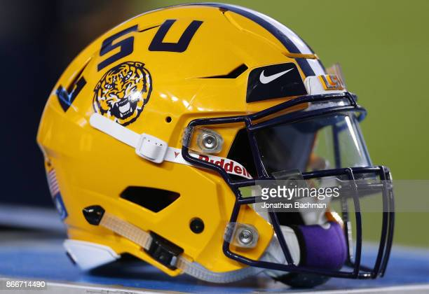 An LSU Tigers helmet is seen during a game against the Mississippi Rebels at VaughtHemingway Stadium on October 21 2017 in Oxford Mississippi