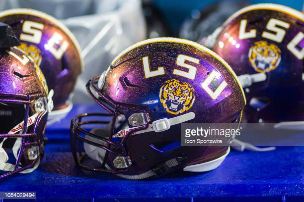 An LSU Tigers helmet rests on the sideline during a game between the Mississippi State Bulldogs and LSU Tigers on October 20 at Tiger Stadium in...