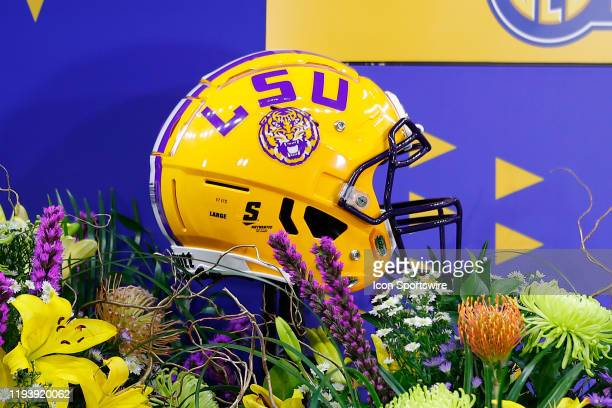An LSU Tigers helmet sits on a TV set prior to the College Football Playoff National Championship Game between the LSU Tigers and the Clemson Tigers...