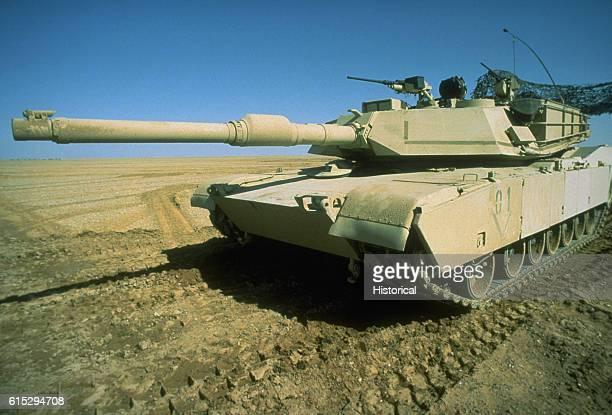 An M1A1 Abrams main battle tank deployed during Operation Desert Storm Saudi Arabia ca 1991
