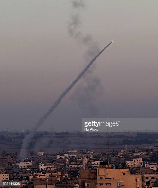 An M75 rocket is launched from the Gaza strip into Israel by militants of Ezz AlDin Al Qassam militia the military wing of Hamas movement in Gaza...