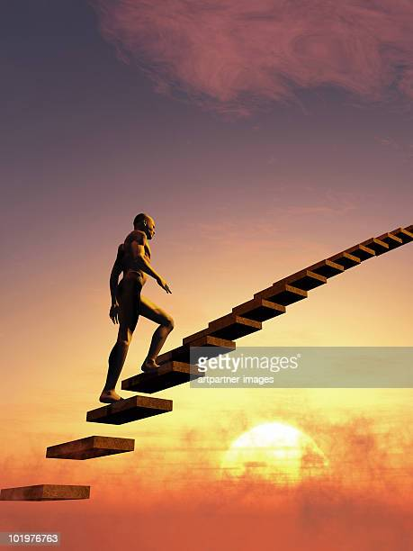 An man on a stairway to heaven or to the sky