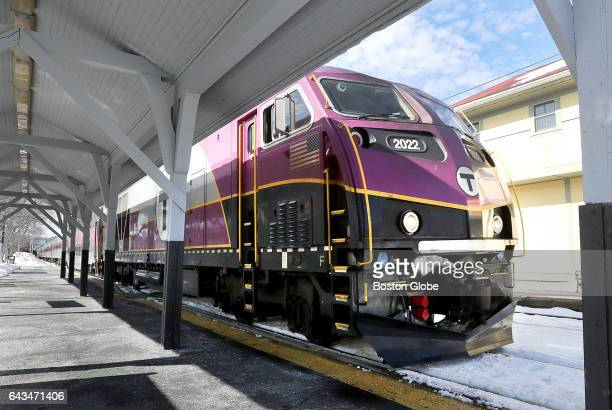 An MBTA commuter rail train from Boston pulls into the station in ManchesterbytheSea MA on Feb 18 2017