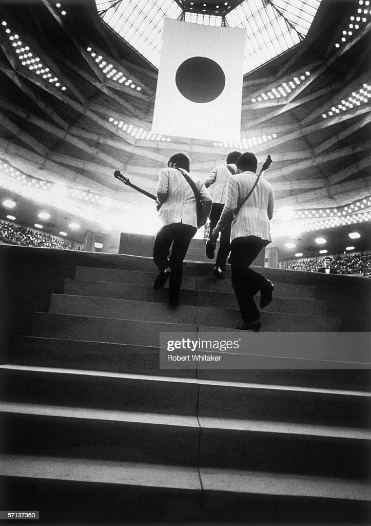 An MC announces the arrival of the Beatles for a matinee concert at the Nippon Budokan during the band's Asian tour, 2nd July 1966.
