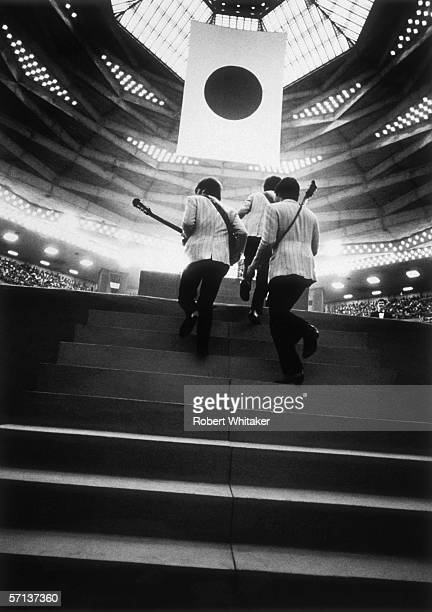 An MC announces the arrival of the Beatles for a matinee concert at the Nippon Budokan during the band's Asian tour 2nd July 1966
