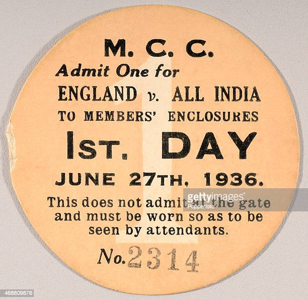 An MCC member's guest ticket for the first day of the 1st Test match between England and All India at Lord's cricket ground in London, 27th June...