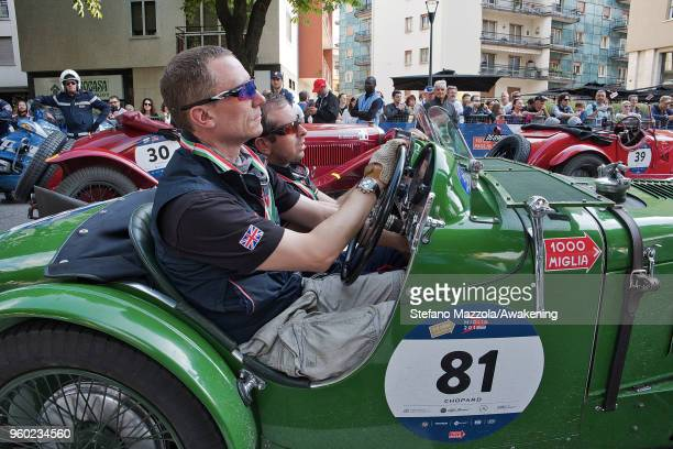 An MG C TYPE SUPERCHARGED passes through the city center of Brescia during the last day of the 1000 Miles Historic Road Race during Mille Miglia 2018...