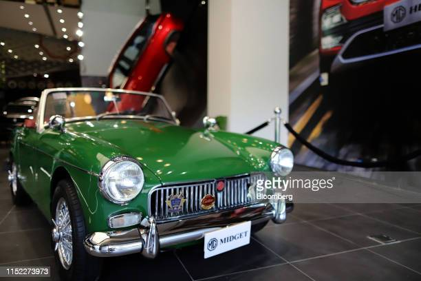 An MG Midget vehicle stands on display during the launch of the MG Hector sports utility vehicle at the Morris Garages flagship showroom in Gurugram...