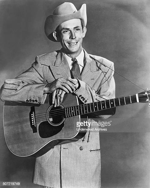 An MGM promotional photograph of country western music star Hank Williams who is to appear at the Arena with the Grand Ole Opry troupe on...
