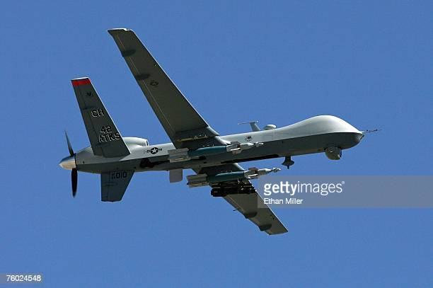 An MQ9 Reaper flies by August 8 2007 at Creech Air Force Base in Indian Springs Nevada The Reaper is the Air Force's first 'hunterkiller' unmanned...
