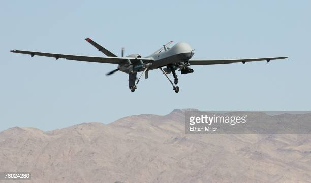 An MQ9 Reaper takes off August 8 2007 at Creech Air Force Base in Indian Springs Nevada The Reaper is the Air Force's first hunterkiller unmanned...