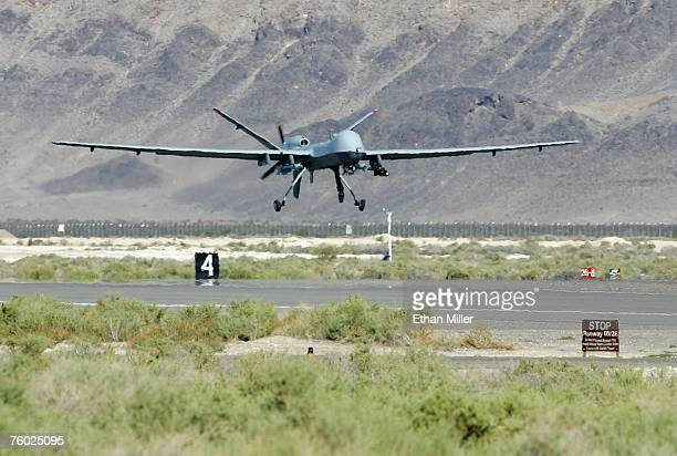 An MQ9 Reaper takes off on a training mission August 8 2007 at Creech Air Force Base in Indian Springs Nevada The Reaper is the Air Force's first...