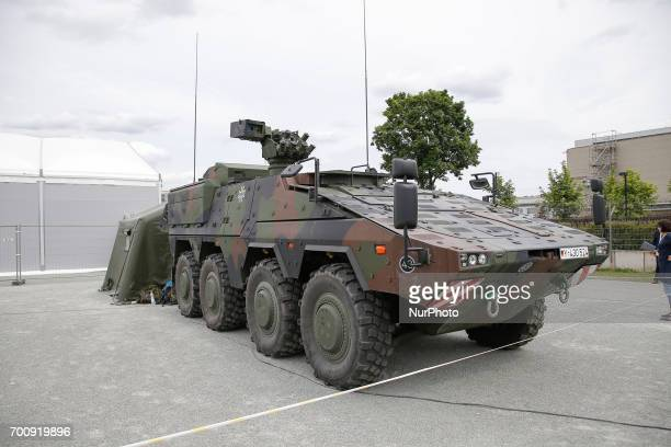 An MRAV or Multi Role Aroured Vehicle of the German army is seen on display at the NATO Joint Force Training Centre on 22 June 2017 The vehicle is...
