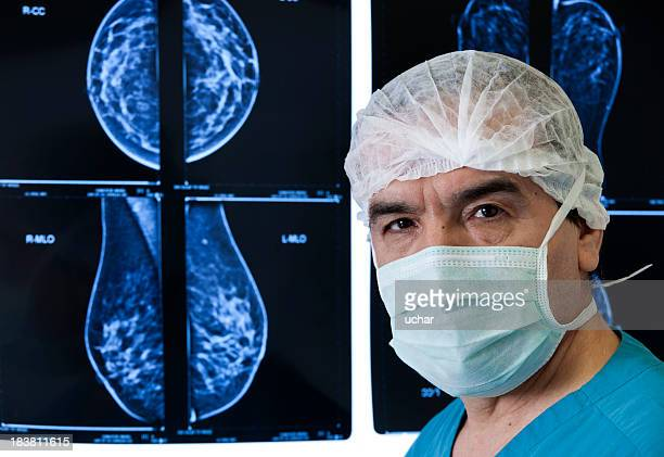 An MRI scan being reviewed by a doctor