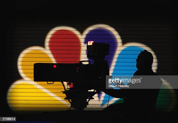 An MSNBC camera operator tapes the Democratic Presidential Candidates Debate at the Polk County Convention Complex November 24 2003 in Des Moines...