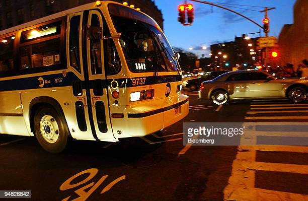 An MTA bus is seen traveling near the Brooklyn Bridge in Brooklyn New York Thursday December 22 2005 Striking subway and bus workers in New York City...