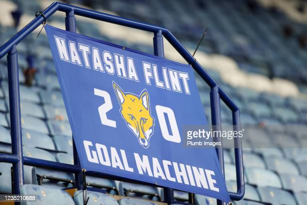 An Natasha Flint of Leicester City Women banner in the stands during the Barclays FA Women's Super League match between Leicester City Women and...