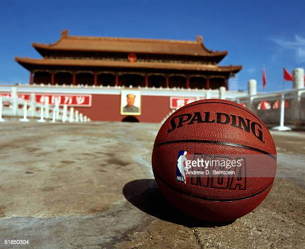 An NBA basketball lays on the ground in Tiananmen Square in conjunction with the NBA China Games between the Houston Rockets and the Sacramento Kings...