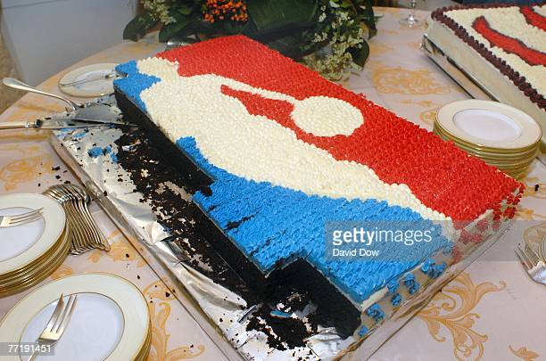 An NBA logo cake is served to guests at a reception welcoming the Toronto Raptors to Rome at the private home of the Canadian Ambassador Alex...