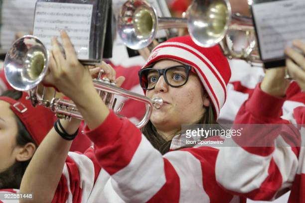 An NC State pep band member plays during the game between the Boston College Eagles and the NC State Wolfpack at PNC Arena on February 20 2018 in...
