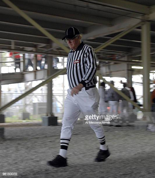 An NCAA football official under the grandstand before the 2007 Under Armour Senior Bowl game at LaddPeebles Stadium Mobile Alabama January 27 2007