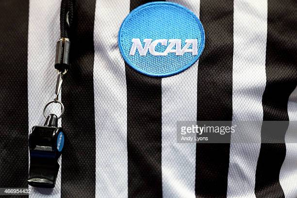 An NCAA patch is seen on a referee's shirt during the second round of the 2015 NCAA Men's Basketball Tournament between the Kentucky Wildcats and the...
