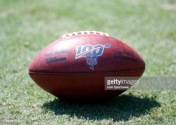 An NFL football with the 100 Year logo during a game between the Tennessee Titans and Indianapolis Coltson September 15 at Nissan Stadium in...